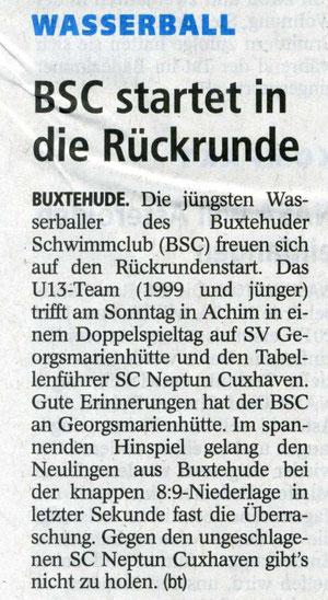 BSC-Wasserball/U13 startet in die Rückrunde Buxtehuder Tageblatt vom 12.04.2013