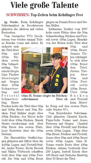 Neue Buxtehuder Wochenblatt vom 20.03.2013, Schwimmen: Top-Zeiten beim Kehdinger Fest, Foto: Gina M. Nonne