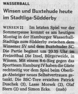 Winsen und Buxtehude heute im Stadtliga-Südderby. Hamburger Abendblatt vom 17.06.2013