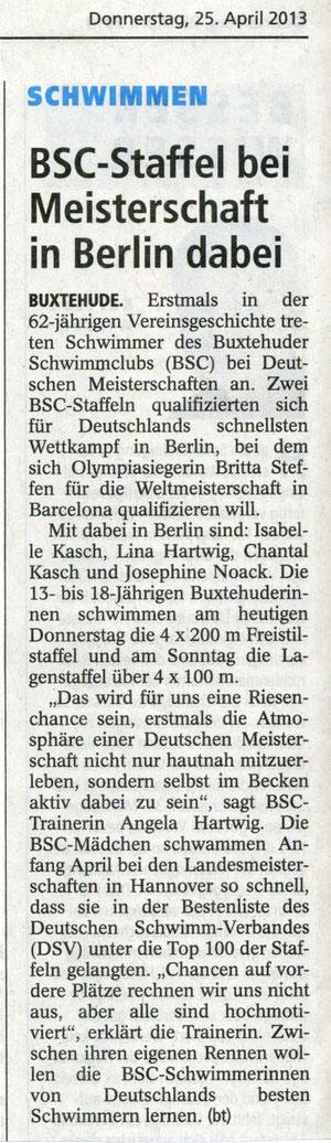 BSC-Meisterschaft bei Meisterschaft in Berlin dabei. Buxtehuder Tageblatt vom 25.04.2013
