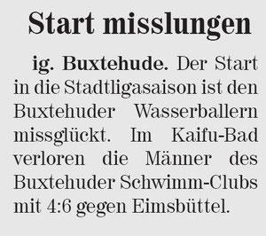 Start missglückt. Neue Buxtehuder Wochenblatt vom 22.05.2013