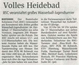 Volles Heidebad. BSC veranstaltet großes Wasserball-Jugendturnier. Buxtehuder Tageblatt vom 11. Mai 2013