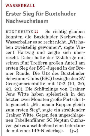 Wasserball/Erster Sieg für Buxtehuder Nachwuchsteam, Hamburger Abendblatt vom 18.04.2013
