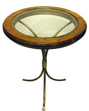 エンドテーブル おしゃれ 丸テーブル ランプ テーブル ガラステーブル 木製 ガラス イタリア製 古木 真鍮 カパーニ アンティーク CAPANNI