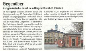 'Gegenüber', RaumK, Sept. 2010, Nr.95