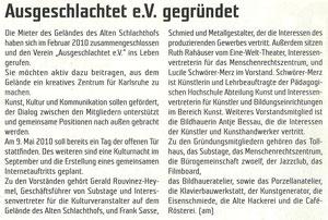 'Ausgeschlachtet e.V', Vereinsgründung, RaumK, April 2010, Nr.90