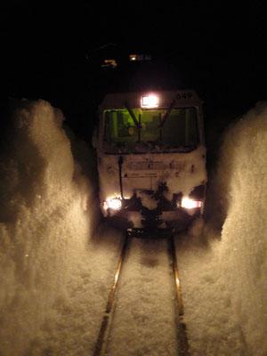 Steinbock Lokomotive nach der Schneeräumung