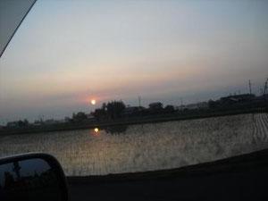 到着すると朝日が昇ってました