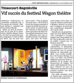 """Tout le plaisir est pour nous ! Cie LA BAN D'RÔLE -  représentation donnée à THIAUCOURT-REGNIÉVILLE 54470- article de presse """"L'EST RÉPUBLICAIN"""" - 13.10.2013"""