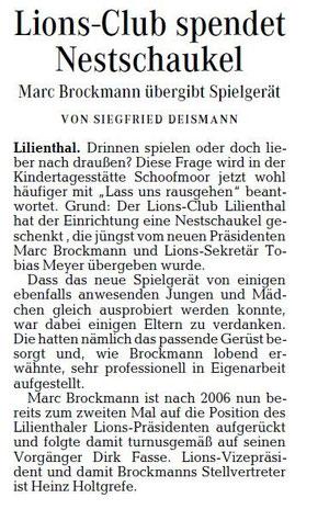 Quelle: Wümme Zeitung vom 9.10.2012