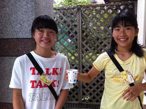 子供達考案のデリシャスジュース「デリジュ」とっても美味しかったよ!好みのジュースを炭酸で割って、お値段30円。カップの絵も自分たちで描いたとか。いいね!!