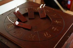 世計り神事に使用する方角が記された木札