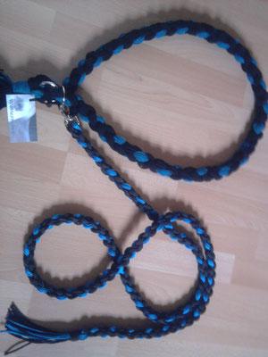 Führstrick mit passendem Halsriemen blau,schwarz aus Polypropylen und Polyesterwolle