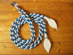 Flechtzügel blau,weiß 2,20Meter lang mit Lederklatsche