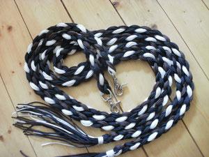 Flechtzügel schwarz,weis,braun 2,10Meter lang
