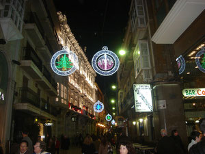 Cartagena´s Calle Mayor with Christmas decorations