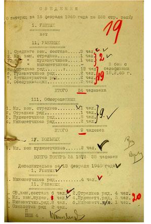 Сведения о потерях по 588сп за 15.02.1940 г. дополнительно за 13.02.1940