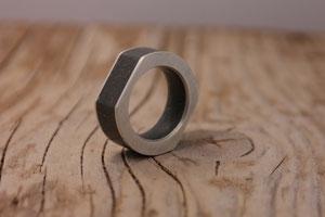 Betonring mit Silber  - Ag 925/Beton