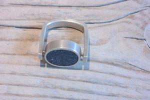 Ring U-Schiene mit ovaler Fassung - Ag 925/Beton
