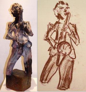 sculpteur sculpture terre patinée enfumée argile terre modelée sculptures  métal recyclé art de la récupération art plastique nus féminins art animalier HAMEAU raku  bretagne morbihan vannes