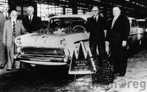 1957 verliess der 50'000ste Wagen das Bieler Montagewerk der General Motors Suisse SA