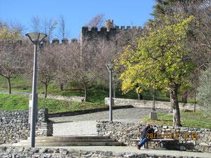 Blick vom Stellplatz auf die alte Stadtmauer