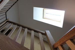 Rampe d'escalier en chêne et balustrade palier en acier (photo)