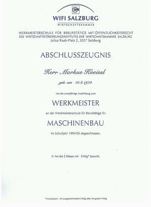 Werkmeister Zeugnis Markus Kneißl