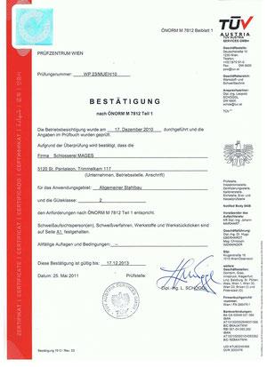 Zertifikat ÖNORM M 7812
