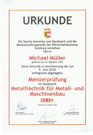 Meisterprüfung Michael Müller