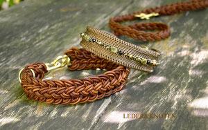 geflochtenes Armband, Kropfband zum Dirndl, Hundehalsband nach Maß, Seidenhalsband, Halsband und Leine aus Leder