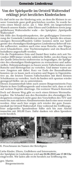 Auszug aus dem Amtsblatt der Gemeinde Münchenbernsdorf vom Mai 2010