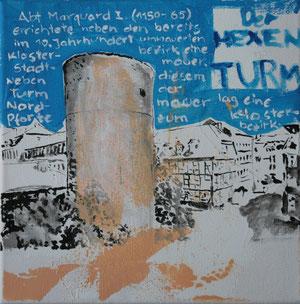 Der Hexenturm.Acryl/Leinwand.20x20cm