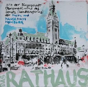 Das Rathaus.Acryl/Leinwand.20x20cm