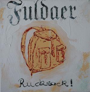 Fuldaer Rucksack.Acryl/Leinwand.20x20cm