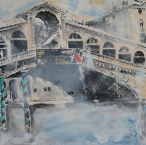 Venedig.Rialtobrücke1.Acryl/Leinwand.20x20cm