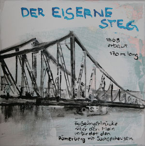 Frankfurt.Der eiserne Steg.Acryl/Leinwand.20x20cm