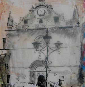 Mallorca.Santanyi.Kirche1.Acryl/Leinwand.20x20cm