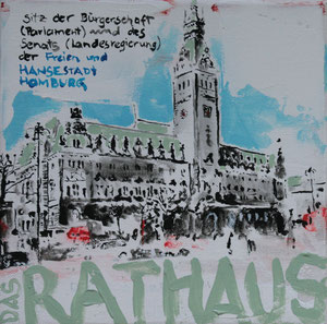 Hamburg.Das Rathaus.Acryl/Leinwand.20x20cm
