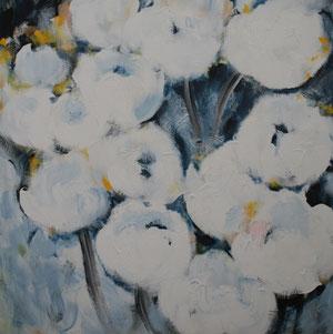 Blumen.Weiß.Blau.Acryl/Leinwand.120x120cm