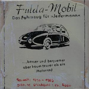 Das Fulda-Mobil.Acryl/Leinwand.20x20cm
