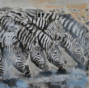 Zebras.Acryl/Leinwand.50x50cm