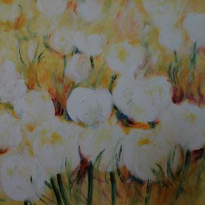 Blumen.Weiß.Gelb.Acryl/Leinwand.120x120cm
