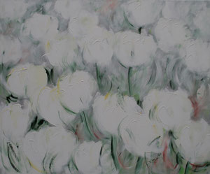 Blumen.Weiß.Grau.Acryl/Leinwand.120x140cm