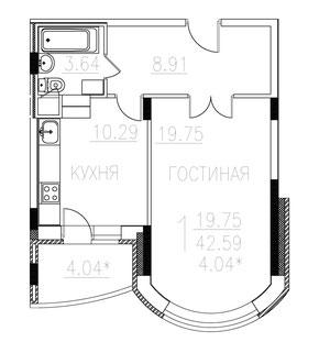 План 1-комнатной квартиры в монолитно-кирпичном доме площадью 42,6 м2