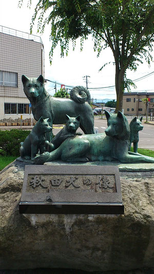 秋田犬のふるさと大館!秋田犬の銅像です~。