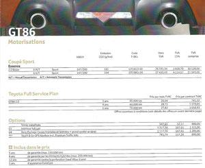 Tarifs GT86
