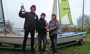 Erfolgreiches Jahr für die Regattasegler vom SVSS: David , Paul und Linus (Foto:Jürgen von Kampen)