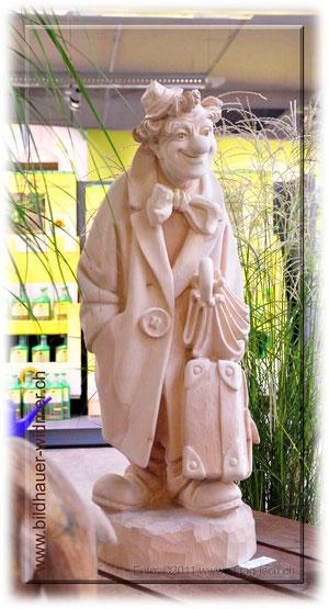 Paul Widmer Bildhauer Uetliburg der Clown ist bereit beim neuen Besitzer einzuziehen.....