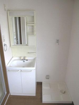 ↑洗面化粧台と洗濯パンです